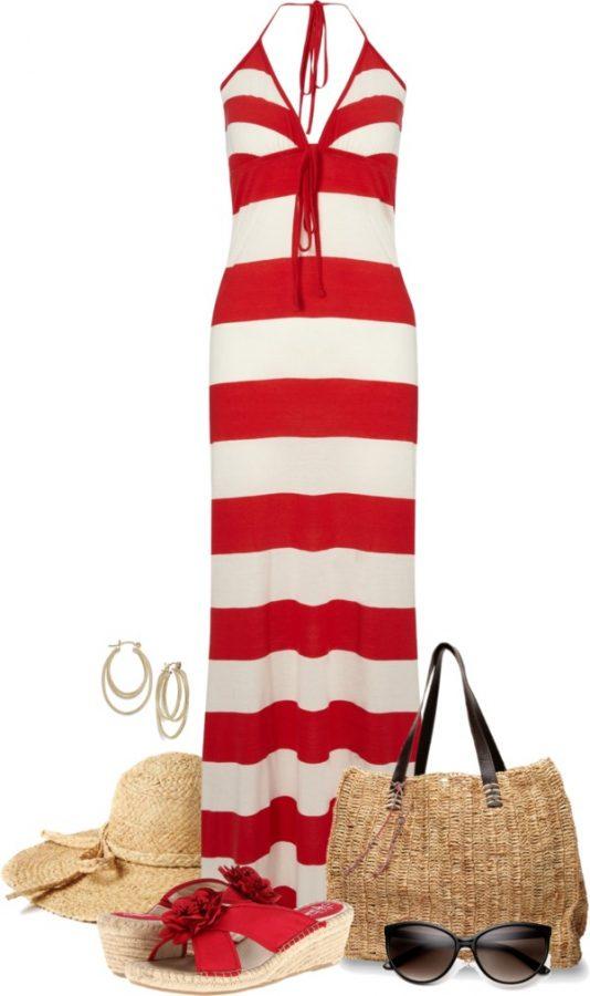 red stripe maxi dress outfit bmodish