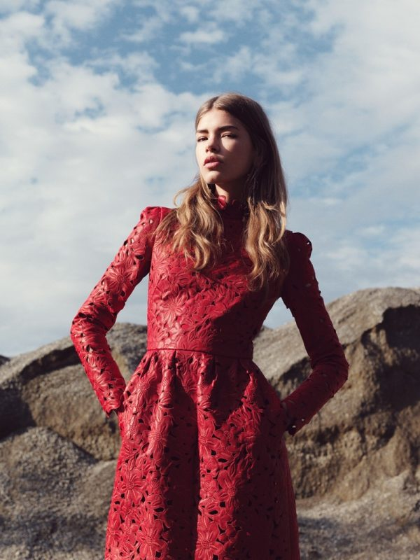 red summer lace dress
