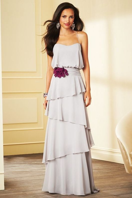 ruffle long bridesmaid dress