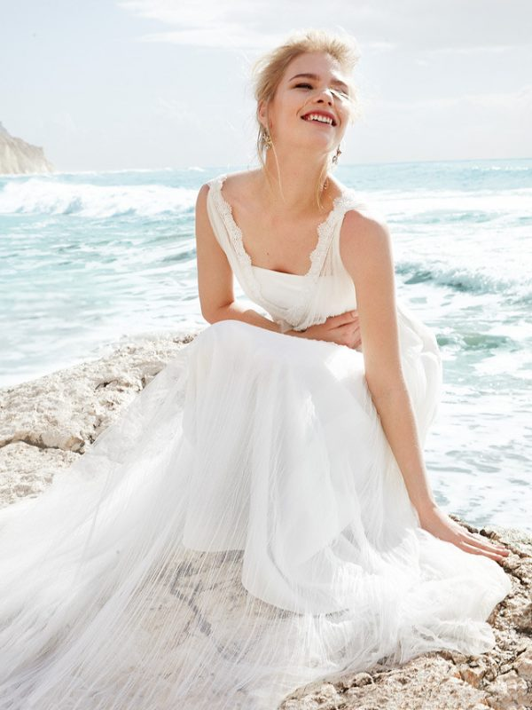 satin and silk beach wedding dress 2014