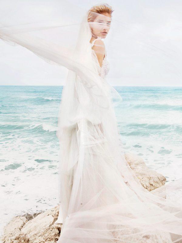 silk and tulle beach wedding dress blumarine sposa 2014