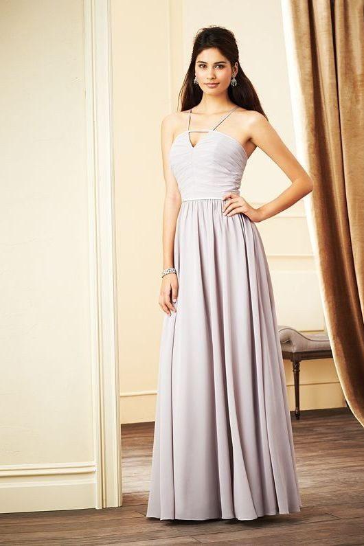 silver long bridesmaid dress