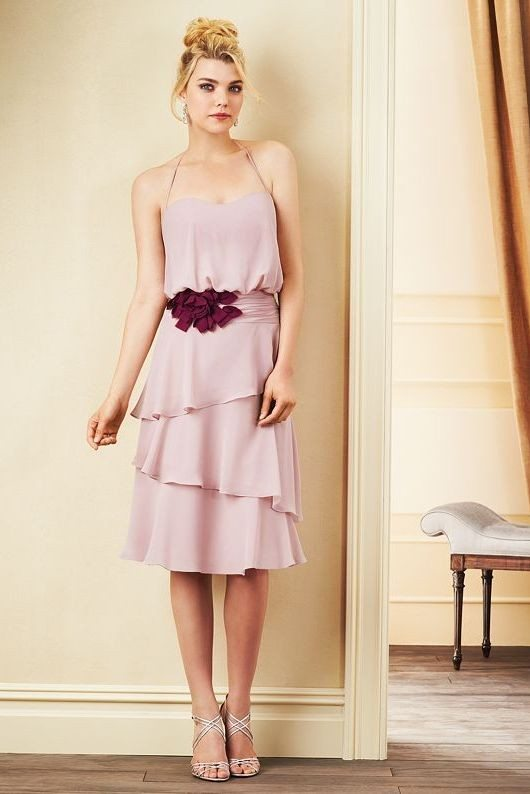 soft pink halter top bridesmaid dress 2