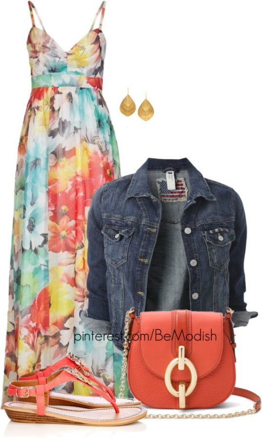 spring floral maxi dress with denim jacket outfit bmodish