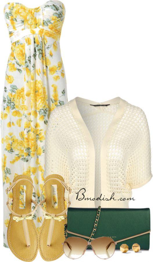 strapless maxi dress outfit idea bmodish