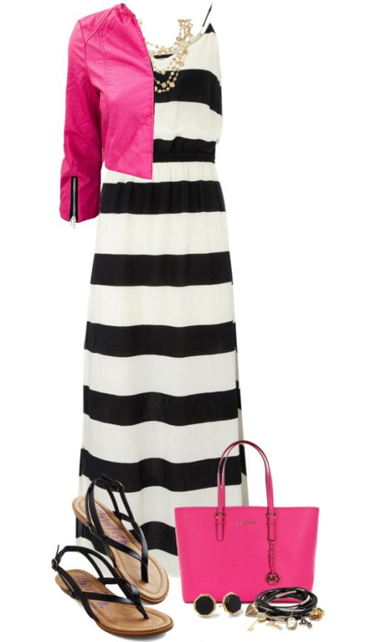 stripe maxi dress outfit idea bmodish