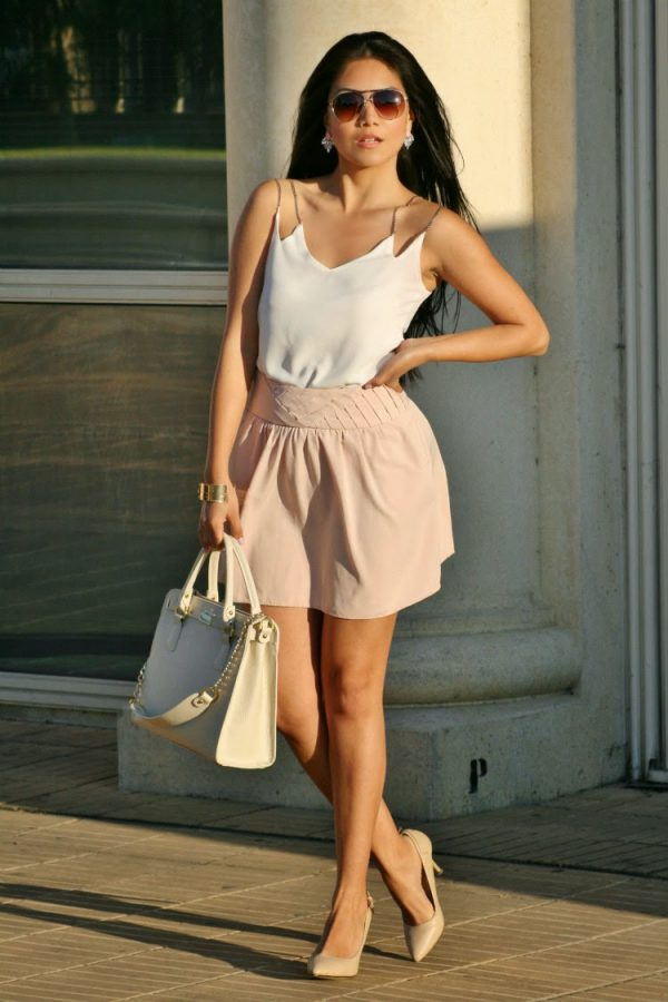 tank blouse with blush skirt bmodish