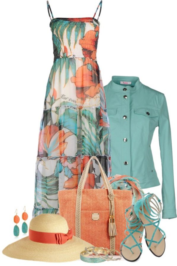 teal maxi dress with jacket outfit idea bmodish