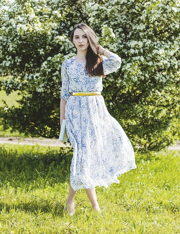 white blue maxi dress