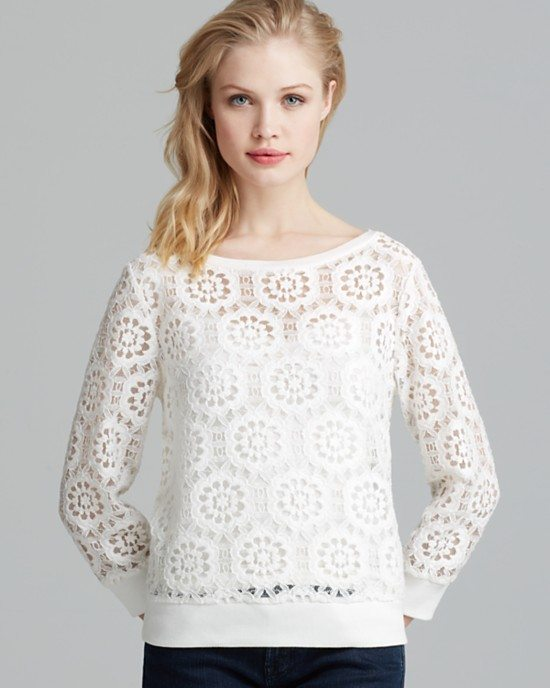 white lace longsleeve sweatshirt bmodish