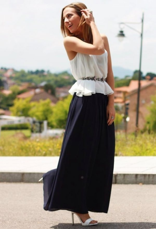 white ruffle blouse with maxi skirt bmodish