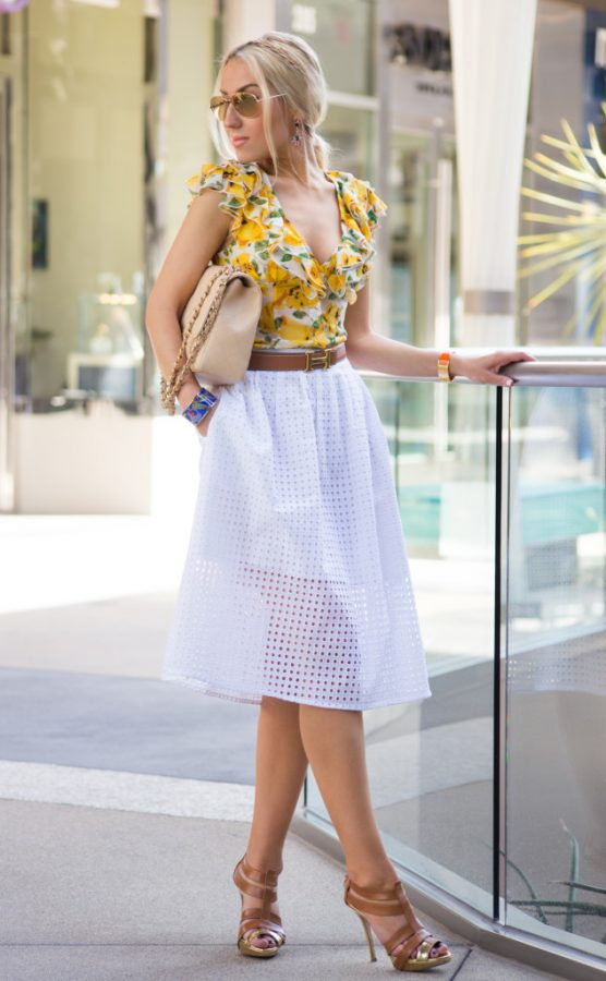 white zara skirt with floral blouse bmodish
