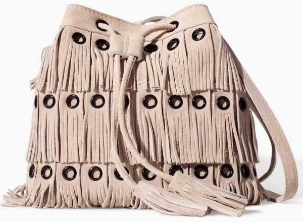 zara tan suede fringe bag