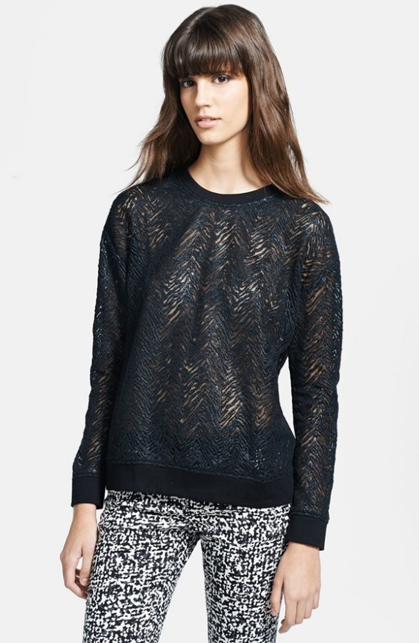 zebra lace sheer sweatshirt bmodish