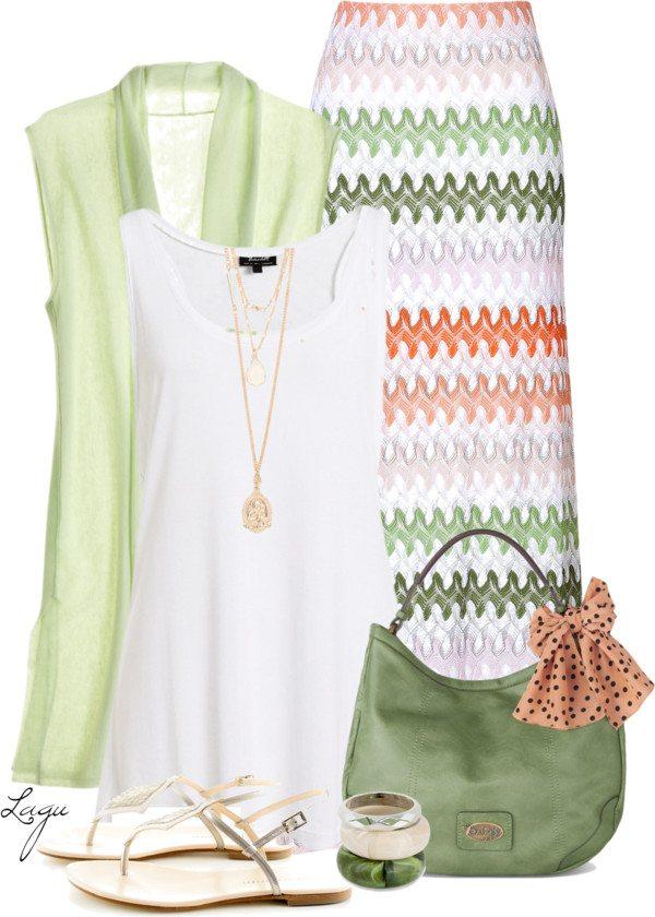 zig zag maxi skirt outfit idea