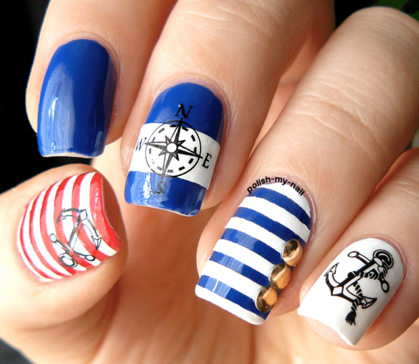 ahoy nautical nail design bmodish