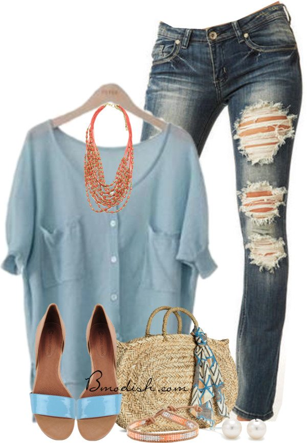 baby blue blouse casual outfit bmodish