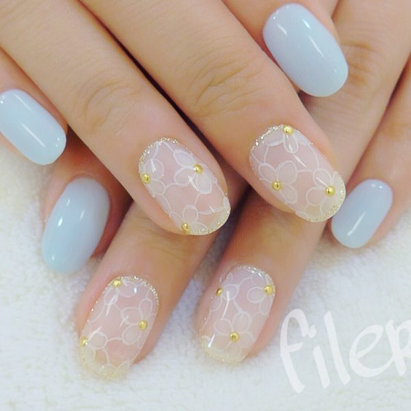 baby blue cute nail art bmodish