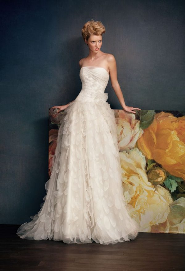 beaded lace organza flower wedding dress bmodish