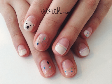 bear and geometric nail art bmodish