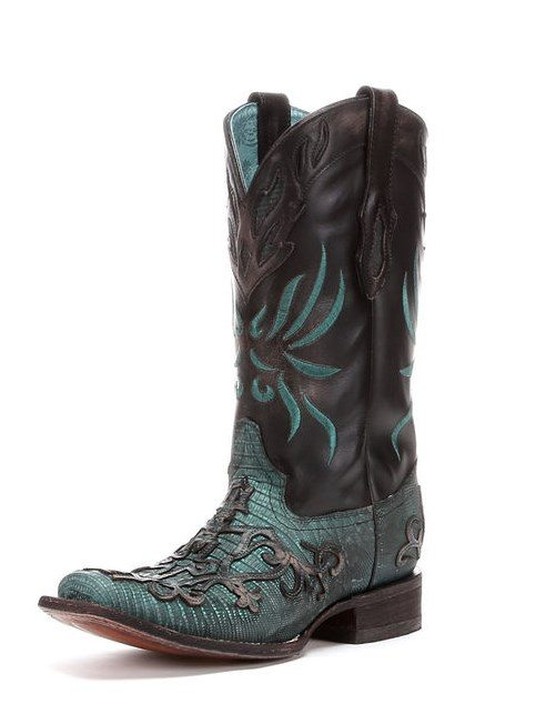 black teju turquoise cross overlay square toe boot bmodish