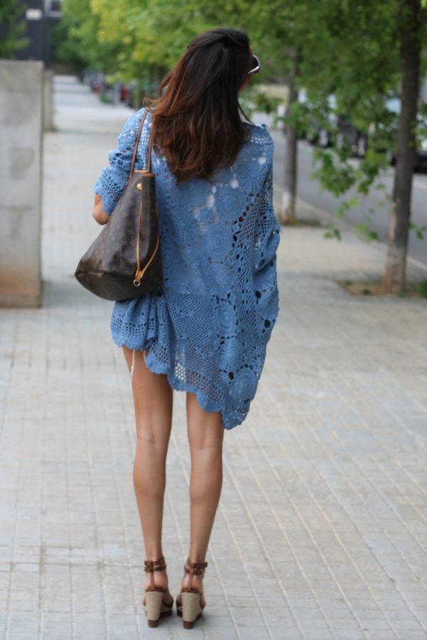 blue crochet kimono cardigan bmodish
