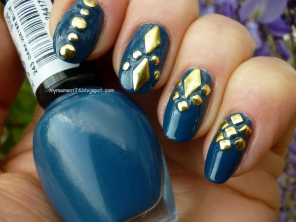 blue gold stud nailart bmodish