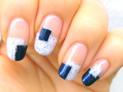 blue white nail art bmodish