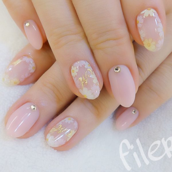 blush pink and gold nail art bmodish