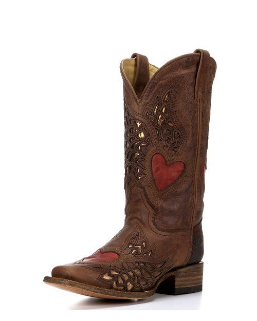 brown red side wing and heart square toe boot bmodish