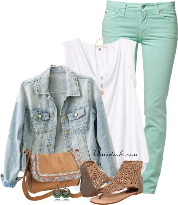casual outfit with denim jacket polyvore outfit bmodish