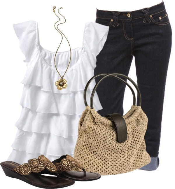 casual ruffle top outfit bmodish