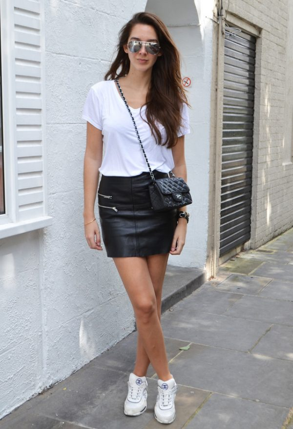 Leather skirt summer outfit – Modern skirts blog for you