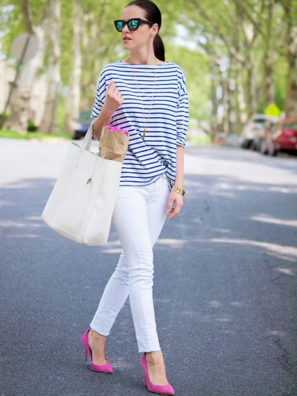 casual white jeans with stripe shirt bmodish