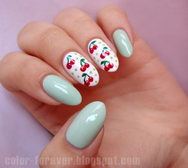 cherries and mint nail art bmodish