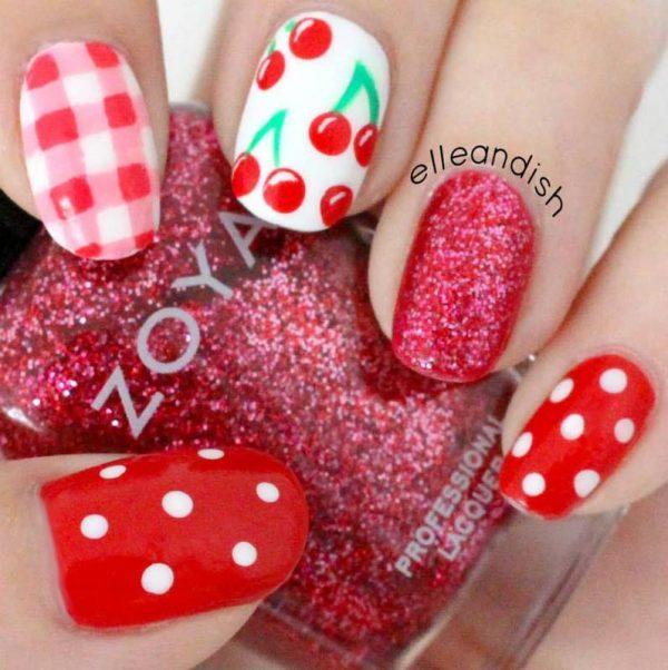cherry picnic nailart bmodish