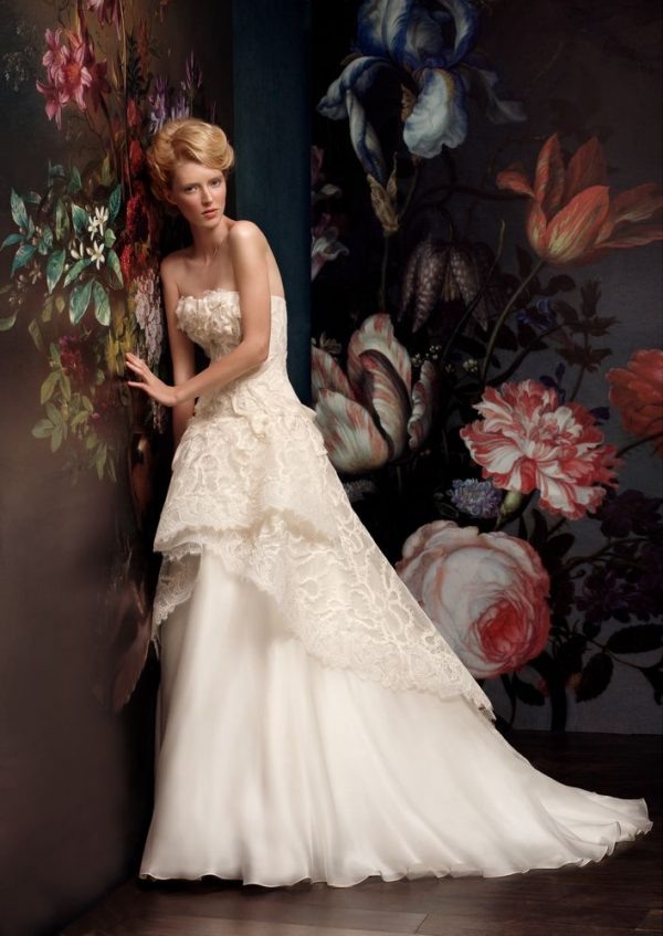 chiffon roses luxurious wedding dress bmodish