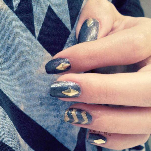 classy evening gold stud nail art bmodish dot com