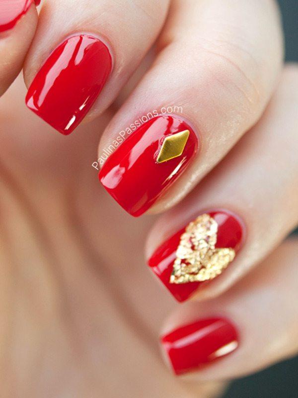 classy red gold stud nailart bmodish