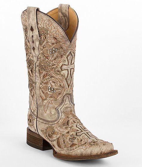 coral beige square cowgirl boot bmodish