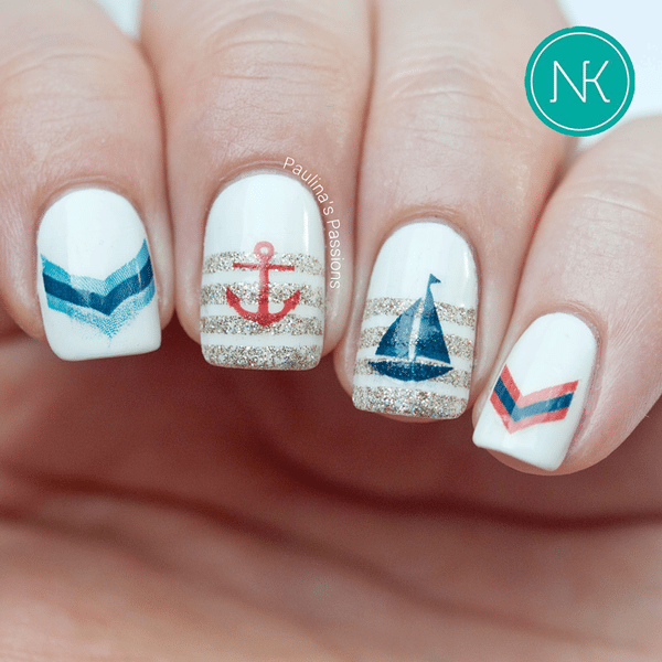 cute glitter nautical nail design bmodish