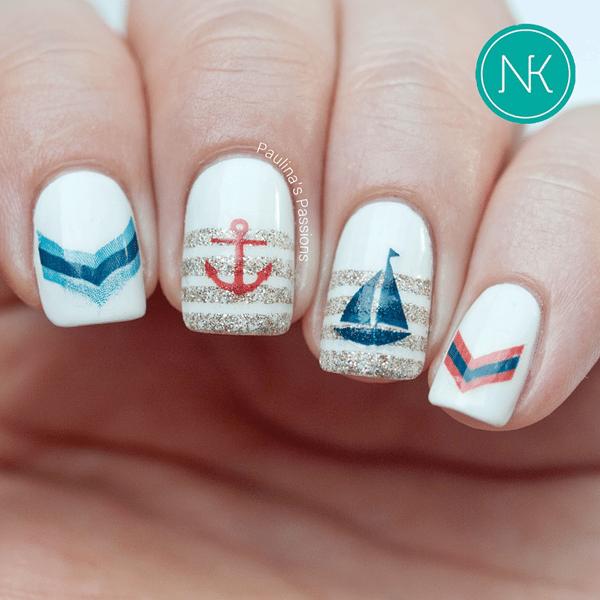 cute glitter nautical nail design bmodish - Attractive Design Of Nautical Nail Art - Be Modish
