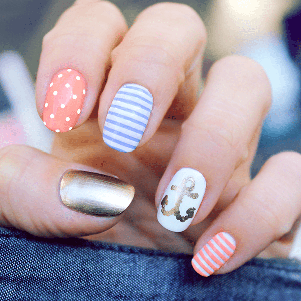 Adorable Nail Art: Attractive Design Of Nautical Nail Art