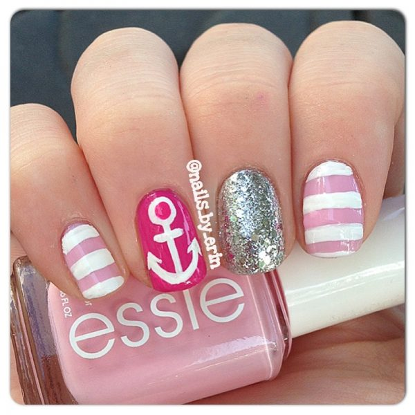 cute pink nautical nails bmodish