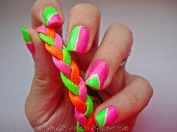easy neon nail design bmodish