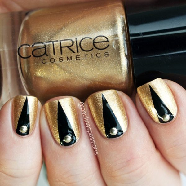 elegant tape gold studded nailart bmodish