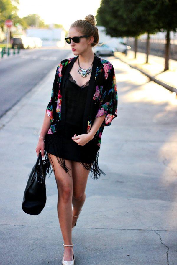 floral black fringe kimono bmodish