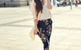 floral printed pants with trench coat bmodish