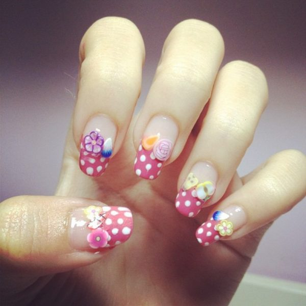 fruity polka dots nail art bmodish