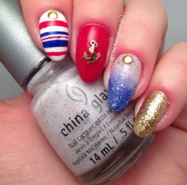 glitter and gold nautical nail design bmodish